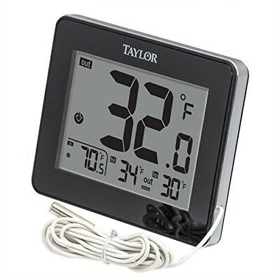 Taylor Wired Digital Indoor/Outdoor Thermometer, Black