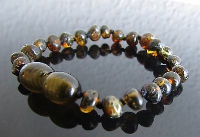 Pure 100% Baltic Amber Bracelet/anklet Dark Green Colour