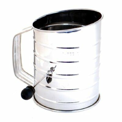 Norpro 3-Cup Stainless Steel Rotary Hand Crank Flour Sifter With 2 Wire Agitator