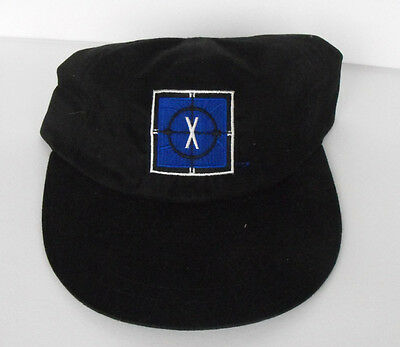 RARE X-FILES Black Cap embroidered BLUE Adults one size fits all MINT