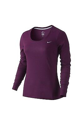 New Womens Nike Dri-fit Contour Long Sleeve Lightweight Running Top Size Large