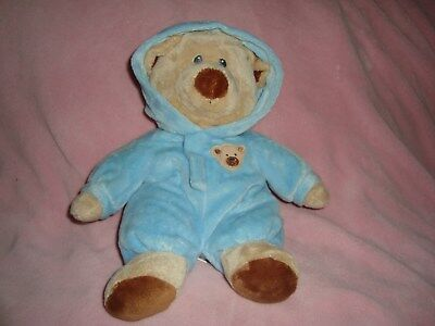 "Ty Pluffies Bear Tylux Baby Blue  PJ'S Embroidered eyes 10"" dated 2012"