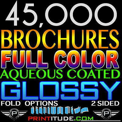 "45,000 Brochure 8.5""x11"" Full Color 2 Sided 100Lb Glossy Aqueous Coated - Folded"