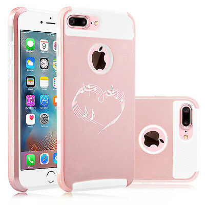 For iPhone X XS Max XR 7 8 Plus Dual Shockproof Hard Case Heart Love Music Notes