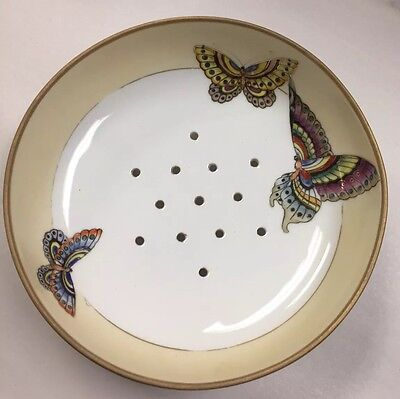 """Nippon Morimura Hand Painted Berry Fruit Porcelain Bowl Strainer Butterfly 7"""""""