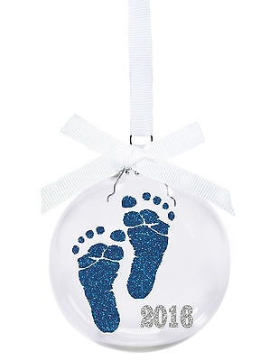 Baby's First Christmas 2016 glass Christmas ornament with blue glitter baby feet