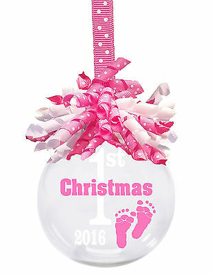 Baby's first Christmas 2016 glass Christmas ornament with Pink korker ribbon