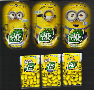 TIC TAC Banana Minions Limited Edition COMPLETE SET Collectables - FREE P&H Aust