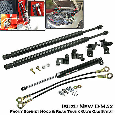 Front Bonnet + Rear Trunk Gas Shock Strut Damper For Isuzu New D-Max Dmax 2012++