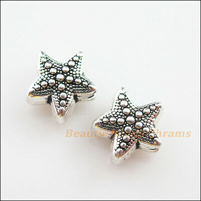 5Pcs Tibetan Silver Tone Sea Starfish Spacer Beads Charms 10x10.5mm