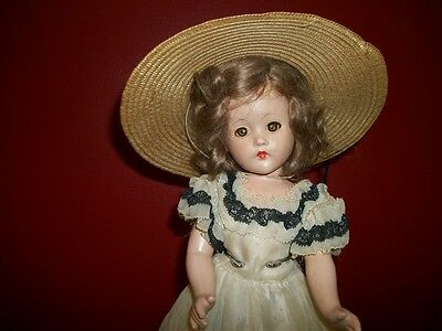 """Vintage Effanbee Suzanne Doll 14"""" Composition Wearing Original Dress And Hat"""