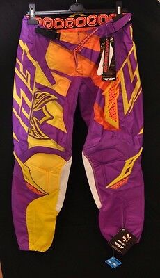 Nwt! Fly Racing Kinetic Inversion Ladies Riding Pant (Purple & Yellow) Size 9-10