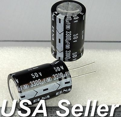 3300uF 50V ELNA Japan Electrolytic Capacitors 85C 2 / 5pcs - USA Shipping