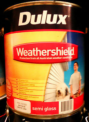 Dulux Paint Weathershield Exterior 4L  Semi Gloss Pre Tinted Antique White Usa