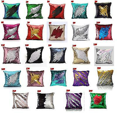"""16"""" MERMAID sequin PILLOW cover * MAGICAL color changing REVERSIBLE N01"""