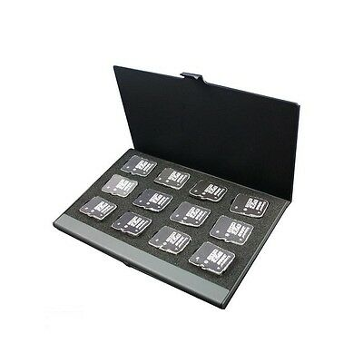 Black/Silver MicroSD TF Memory Card Storage Box Holder Case for 12 TF