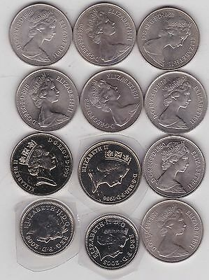 12 Old Ten Pence Coins Dated 1968 To 2006 In High Grade