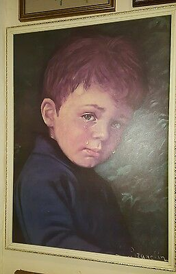 VINTAGE RETRO PRINT THE CRYING BOY ALFIE BY J.BRAGOLIN FRAMED PICTURE 1960s
