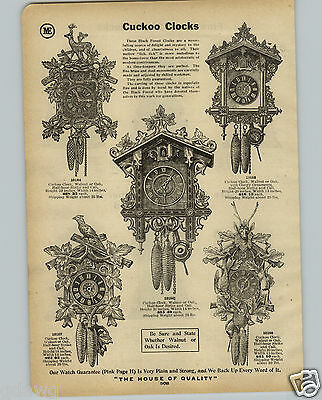 1914 PAPER AD 2 PG Black Forest Cuckoo Quail Music Clocks Carved Stags Head Deer