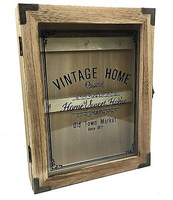 Vintage Style Wooden Key Box Cabinet Wall Hanging Holds 6 Sets Keys