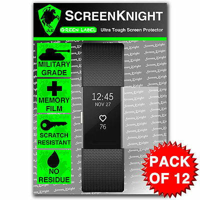 ScreenKnight FITBIT CHARGE 2 /ii - SCREEN PROTECTOR Military Shield - PACK OF 12