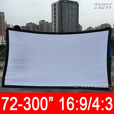 """100-300"""" White Canvas Fabric Portable Projector Projection Screen Curtains Film"""