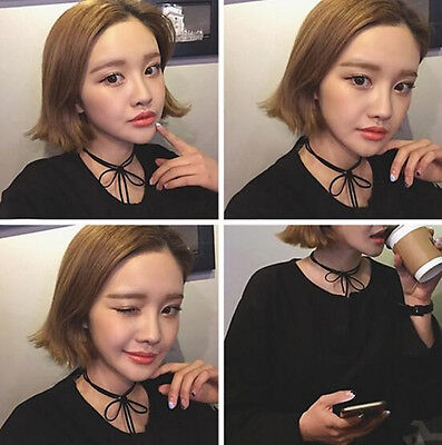 Korean Women Sexy Lace Bowknot Double Line Black Necklace Lovely Chain Bow Tie