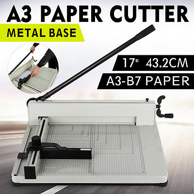 A3 Paper Guillotine Cutter Trimmer Machine Commercial Home Office 17'' Manual