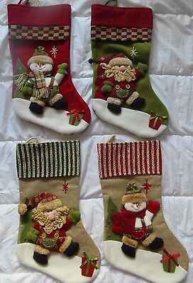 3D CHRISTMAS STOCKING Santa, Snowman - Fireplace Decoration