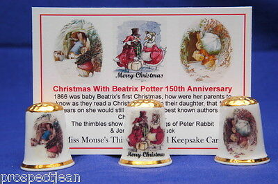 Christmas With Beatrix Potter150th Anni Box Set Thimbles+ Keepsake Card  B/171