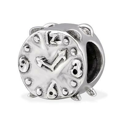 925 Sterling Silver Antique Alarm Clock Time Bracelet Charm Bead Gift Boxed