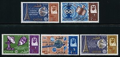 92/ SPACE RAUMFAHRT 1966 QATAR ITU UIT Red Ovpt New Currency 195-199 Ab ** MNH