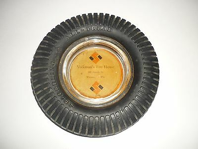 Volkman's Tire House, Wausau WI Tire Ashtray Ash Tray Seiberling All-Tread Tires