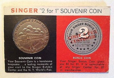1964-65 NY World's Fair Singer Sewing Machine Exhibit Souvenir Coin and Card