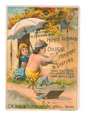 Hoyts German Cologne Boy Painting Advertisment Victorian Trade Card Free Ship