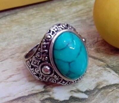 Turquoise Oval Tibetan Silver Ring Unisex Gift Size 8.9.7 US Seller