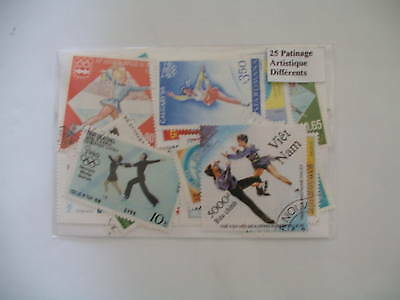 *** Timbres Sports / Patinage Artistique : 50 Timbres Tous Differents **