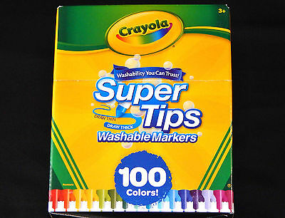 Crayola 100 COLORS SuperTips Washable Markers BIG BOX Art Crafts Draw Super Tips