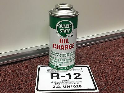 R12, Quaker State, Refrigerant 12, Refrigeration Lubrication RECHARGE can r-12