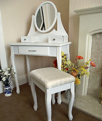 New White Dressing Table French Chic 3 Drawer Mirror Stool Set Bedroom Rrp £100