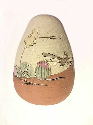 ROAD RUNNER! SIGNED HANDMADE ETCHED PAINTED NATIVE AMERICAN style SANDSTONE VASE