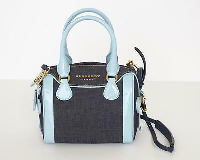 930c22087f75 BURBERRY PRORSUM Blue Bee ALCHESTER Denim+Patent Leather Bowler Satchel Bag  NEW