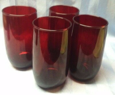 "4 Vintage Anchor Hocking Royal Ruby Tumblers Water Glasses 3 are 5"", 1 is 4 3/4"""