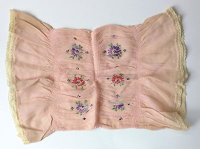 Antique 1910 1920s 20s Pillow Case Sham Pink Embroidered Flowers Boudoir Lace