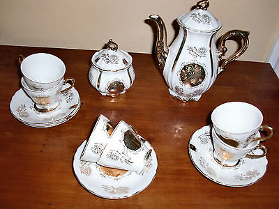 14 PC Gold Plated CHINA JAPAN Coffee Pot Cups&Saucers Sugar Bowl Super CUTE!