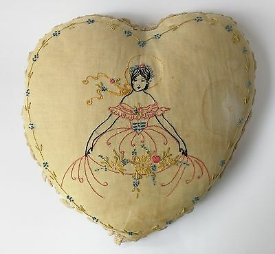 Vintage 1920s 20s Embroidered Southern Belle Boudoir Pillow Lace Trim