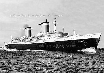 """Photo: 5"""" x 7"""": SS United States Rips Up English Channel, July, 1952"""