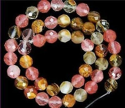 6-10mm Faceted Watermelon Tourmaline Gem loose Beads 15'' 1Strand