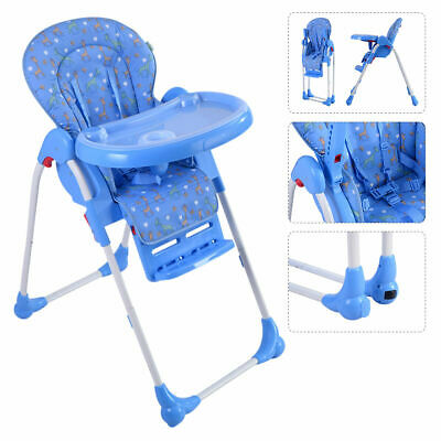 Adjustable Baby High Chair Infant Toddler Feeding Booster Seat Folding Blue