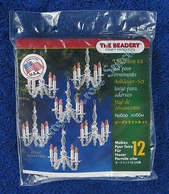"Christmas Bead Kit Chandelier Ornament Candles Makes 12 2.5"" Quick & Easy"
